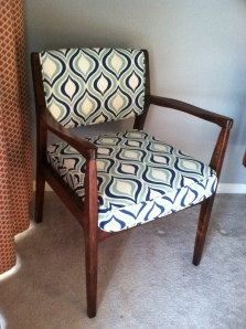 My newly refinished chair that has found a home in the corner of my bedroom.